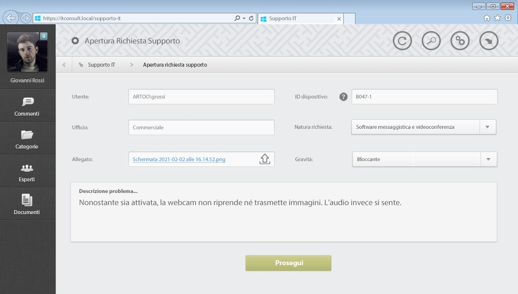 Helpdesk - GESTIONE PROCESSI ORGANIZZATIVI INTERNI - IT CONSULT